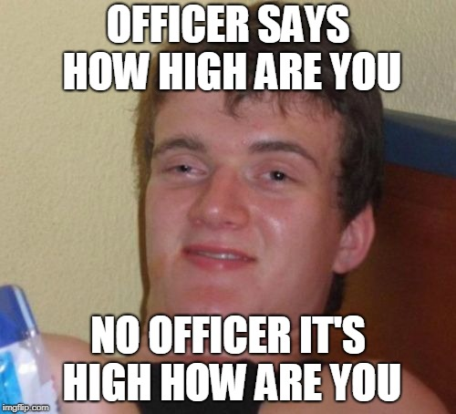10 Guy Meme | OFFICER SAYS HOW HIGH ARE YOU NO OFFICER IT'S HIGH HOW ARE YOU | image tagged in memes,10 guy | made w/ Imgflip meme maker