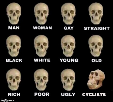 idiot skull | CYCLISTS | image tagged in idiot skull | made w/ Imgflip meme maker