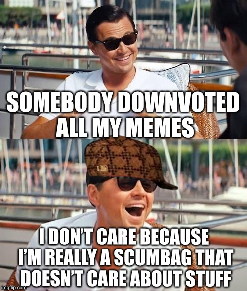 Leonardo Dicaprio Wolf Of Wall Street | SOMEBODY DOWNVOTED ALL MY MEMES I DON'T CARE BECAUSE I'M REALLY A SCUMBAG THAT DOESN'T CARE ABOUT STUFF | image tagged in memes,leonardo dicaprio wolf of wall street,scumbag | made w/ Imgflip meme maker