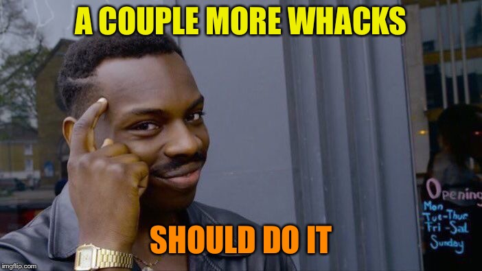Roll Safe Think About It Meme | A COUPLE MORE WHACKS SHOULD DO IT | image tagged in memes,roll safe think about it | made w/ Imgflip meme maker
