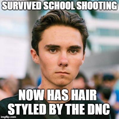 Hair Gel Provided By George Soros | SURVIVED SCHOOL SHOOTING NOW HAS HAIR STYLED BY THE DNC | image tagged in david hogg,memes,puppet | made w/ Imgflip meme maker