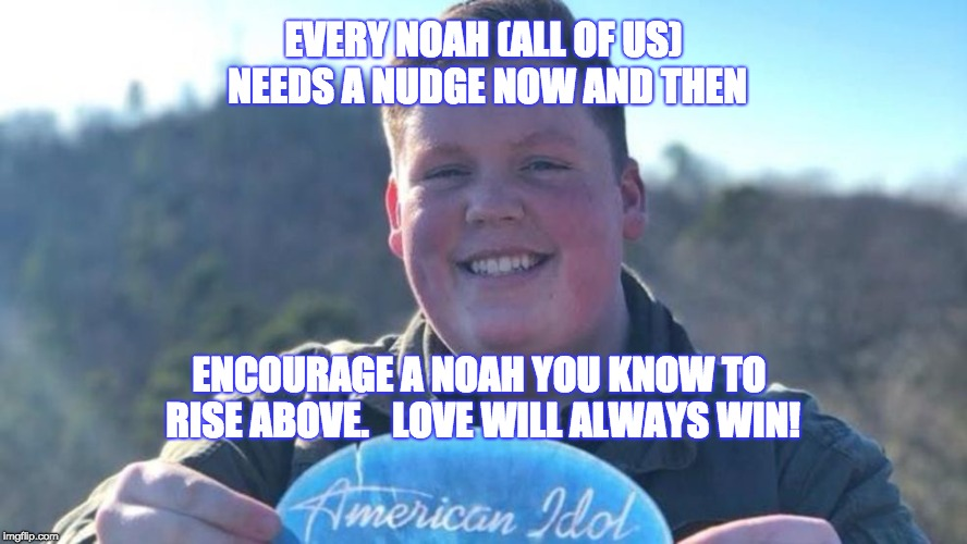 EVERY NOAH (ALL OF US) NEEDS A NUDGE NOW AND THEN ENCOURAGE A NOAH YOU KNOW TO RISE ABOVE.   LOVE WILL ALWAYS WIN! | image tagged in noahdavis | made w/ Imgflip meme maker