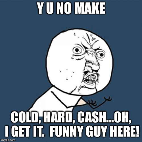 Y U No Meme | Y U NO MAKE COLD, HARD, CASH...OH, I GET IT.  FUNNY GUY HERE! | image tagged in memes,y u no | made w/ Imgflip meme maker