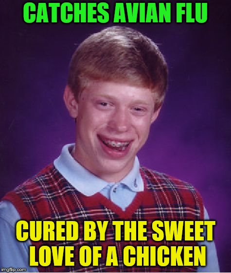 Bad Luck Brian Meme | CATCHES AVIAN FLU CURED BY THE SWEET LOVE OF A CHICKEN | image tagged in memes,bad luck brian | made w/ Imgflip meme maker