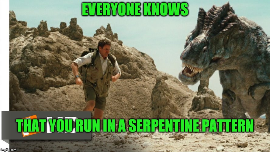 EVERYONE KNOWS THAT YOU RUN IN A SERPENTINE PATTERN | made w/ Imgflip meme maker