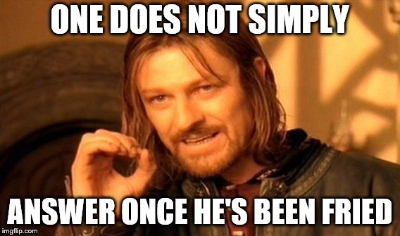 One Does Not Simply Meme | ONE DOES NOT SIMPLY ANSWER ONCE HE'S BEEN FRIED | image tagged in memes,one does not simply | made w/ Imgflip meme maker