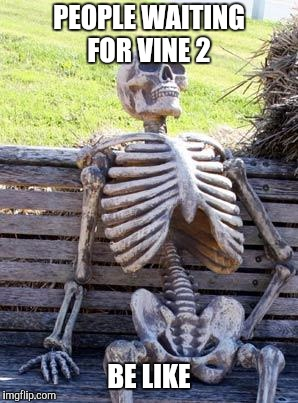 Waiting Skeleton Meme | PEOPLE WAITING FOR VINE 2 BE LIKE | image tagged in memes,waiting skeleton | made w/ Imgflip meme maker
