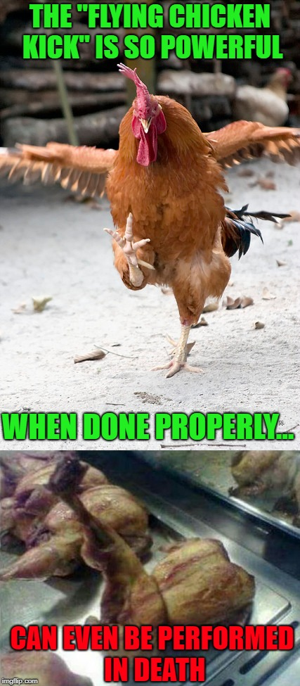 "Chicken Week, April 2-8, A JBmemegeek & giveuahint Event! | THE ""FLYING CHICKEN KICK"" IS SO POWERFUL WHEN DONE PROPERLY... CAN EVEN BE PERFORMED IN DEATH 