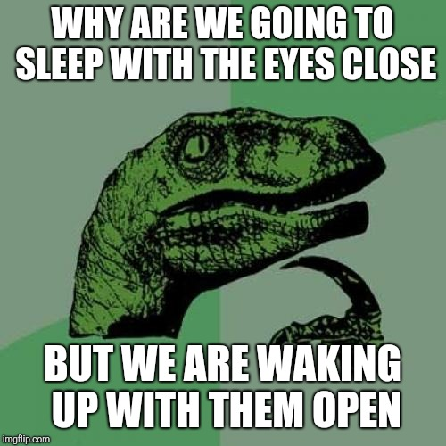 Philosoraptor Meme | WHY ARE WE GOING TO SLEEP WITH THE EYES CLOSE BUT WE ARE WAKING UP WITH THEM OPEN | image tagged in memes,philosoraptor | made w/ Imgflip meme maker