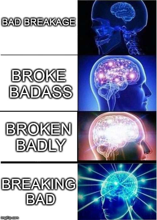 Expanding Brain Meme | BAD BREAKAGE BROKE BADASS BROKEN BADLY BREAKING BAD | image tagged in memes,expanding brain,breaking bad,walter white,branal expansion | made w/ Imgflip meme maker