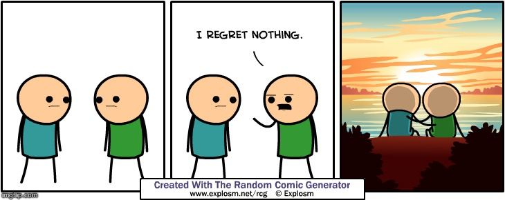 Never regret love | image tagged in love,cyanide and happiness,no regrets,beach,sunset | made w/ Imgflip meme maker