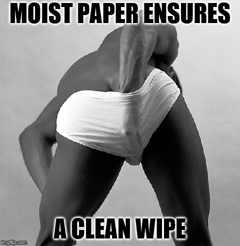 MOIST PAPER ENSURES A CLEAN WIPE | made w/ Imgflip meme maker