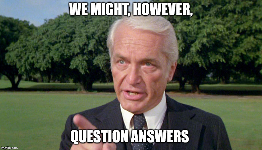 Caddyshack- Ted knight 1 | WE MIGHT, HOWEVER, QUESTION ANSWERS | image tagged in caddyshack- ted knight 1 | made w/ Imgflip meme maker