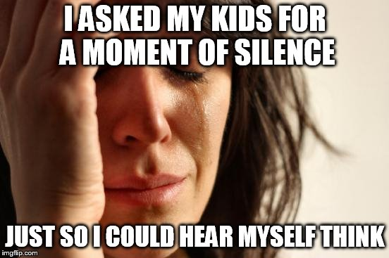 First World Problems Meme | I ASKED MY KIDS FOR A MOMENT OF SILENCE JUST SO I COULD HEAR MYSELF THINK | image tagged in memes,first world problems | made w/ Imgflip meme maker