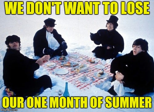 Canadian picnic | WE DON'T WANT TO LOSE OUR ONE MONTH OF SUMMER | image tagged in canadian picnic | made w/ Imgflip meme maker