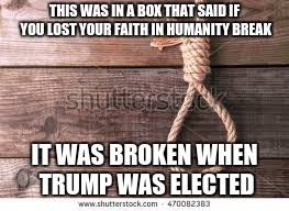 the truth has won out | THIS WAS IN A BOX THAT SAID IF YOU LOST YOUR FAITH IN HUMANITY BREAK IT WAS BROKEN WHEN TRUMP WAS ELECTED | image tagged in lost faith in humanity,death,funny,cnn broken news | made w/ Imgflip meme maker