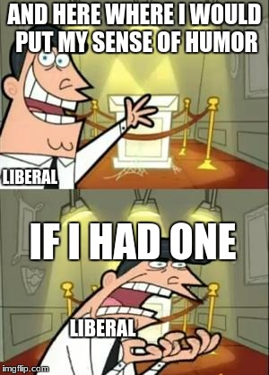 Truth | AND HERE WHERE I WOULD PUT MY SENSE OF HUMOR IF I HAD ONE LIBERAL LIBERAL | image tagged in memes,this is where i'd put my trophy if i had one | made w/ Imgflip meme maker