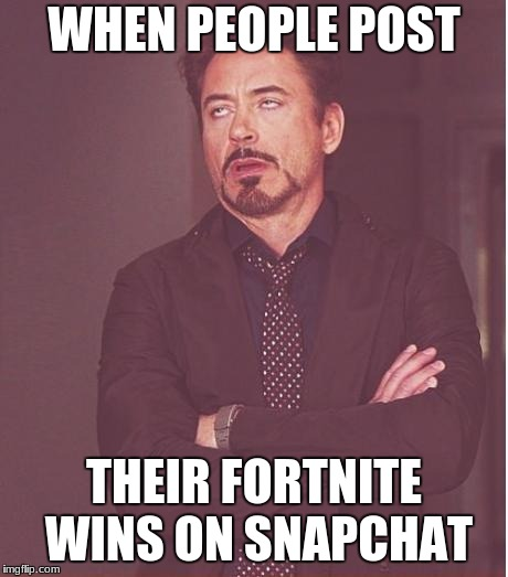 Face You Make Robert Downey Jr Meme | WHEN PEOPLE POST THEIR FORTNITE WINS ON SNAPCHAT | image tagged in memes,face you make robert downey jr | made w/ Imgflip meme maker