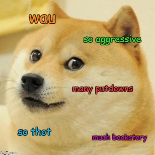 Doge Meme | wau so aggressive many putdowns so thot much backstory | image tagged in memes,doge | made w/ Imgflip meme maker