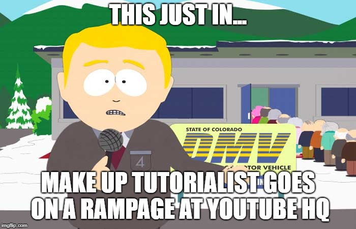 South park reporter | THIS JUST IN... MAKE UP TUTORIALIST GOES ON A RAMPAGE AT YOUTUBE HQ | image tagged in south park reporter | made w/ Imgflip meme maker