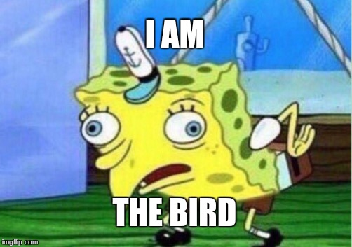 Mocking Spongebob Meme | I AM THE BIRD | image tagged in memes,mocking spongebob | made w/ Imgflip meme maker