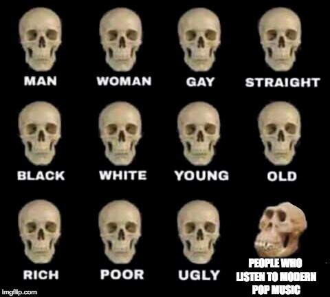 Idiot Skull: Modern Popular Music Edition | PEOPLE WHO LISTEN TO MODERN POP MUSIC | image tagged in idiot skull,music,memes,pop music,pop music sucks,rock music | made w/ Imgflip meme maker