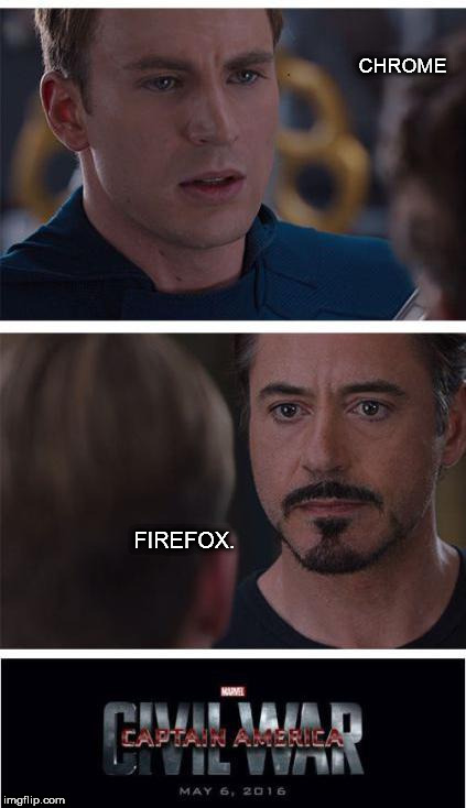 Marvel Chrome | CHROME FIREFOX. | image tagged in captain america civil war,chrome,firefox,civil war | made w/ Imgflip meme maker