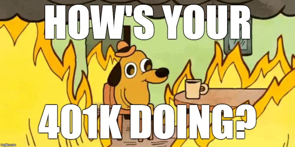 House on fire dog | HOW'S YOUR 401K DOING? | image tagged in house on fire dog | made w/ Imgflip meme maker