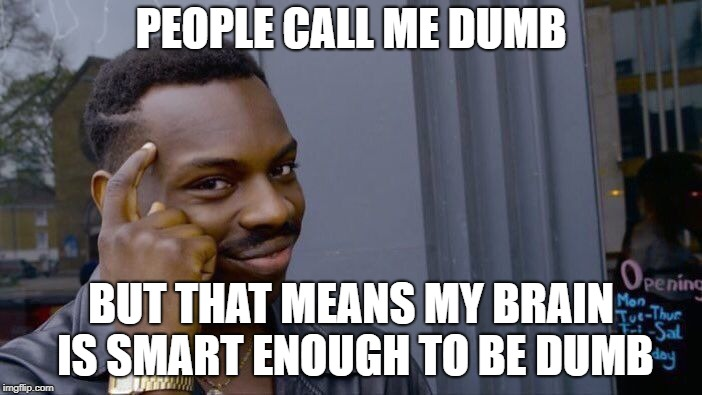 Roll Safe Think About It Meme | PEOPLE CALL ME DUMB BUT THAT MEANS MY BRAIN IS SMART ENOUGH TO BE DUMB | image tagged in memes,roll safe think about it | made w/ Imgflip meme maker