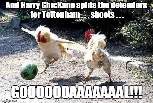 I don't expect most of you to get this... (Chicken Week, April 2nd-8th, a giveuahint & JBmemegeek event) | And Harry ChicKane splits the defenders for Tottenham . . . shoots . . . GOOOOOOAAAAAAAL!!! | image tagged in memes,chicken week,chickens,soccer,english | made w/ Imgflip meme maker