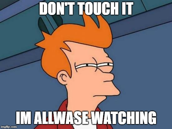 Futurama Fry Meme | DON'T TOUCH IT IM ALLWASE WATCHING | image tagged in memes,futurama fry | made w/ Imgflip meme maker