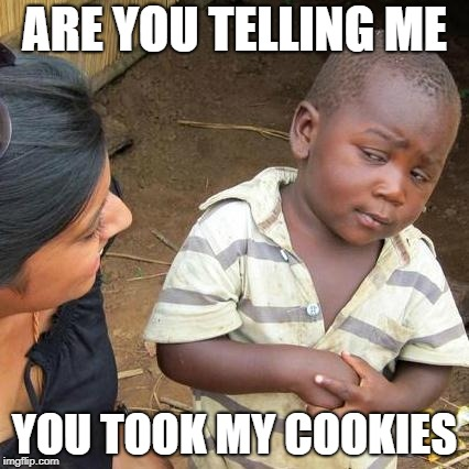Third World Skeptical Kid Meme | ARE YOU TELLING ME YOU TOOK MY COOKIES | image tagged in memes,third world skeptical kid | made w/ Imgflip meme maker