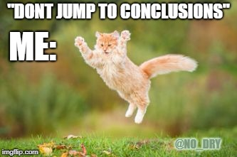 "Don't jump to conclusions | ""DONT JUMP TO CONCLUSIONS"" ME: @NO_DRY 