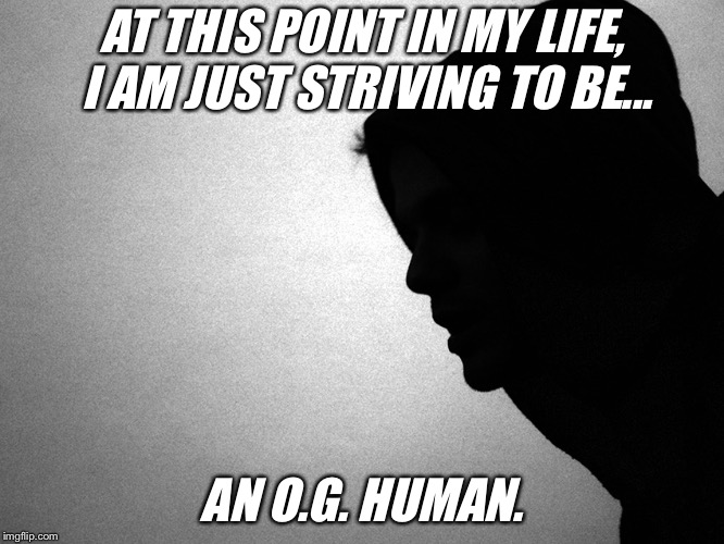 HUMAN | AT THIS POINT IN MY LIFE, I AM JUST STRIVING TO BE... AN O.G. HUMAN. | image tagged in human,original gangster,wakeup,humanity | made w/ Imgflip meme maker