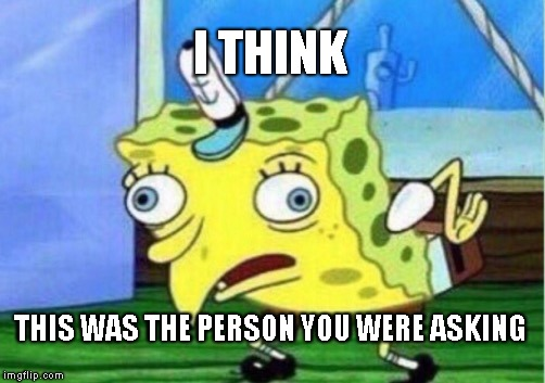 I THINK THIS WAS THE PERSON YOU WERE ASKING | image tagged in memes,mocking spongebob | made w/ Imgflip meme maker