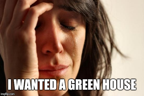 First World Problems Meme | I WANTED A GREEN HOUSE | image tagged in memes,first world problems | made w/ Imgflip meme maker