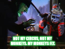 FLYING MONKEYS | NOT MY CIRCUS, NOT MY MONKEYS. MY MONKEYS FLY. | image tagged in flying monkeys,wicked witch,not my circus not my monkeys,monkey | made w/ Imgflip meme maker