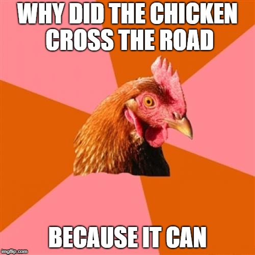 "you expected ""to get to the other side"" didnt ya 