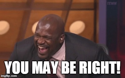 shaq laugh | YOU MAY BE RIGHT! | image tagged in shaq laugh | made w/ Imgflip meme maker