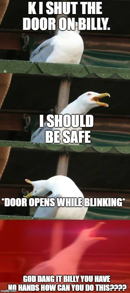 SCP how can he do this??? | K I SHUT THE DOOR ON BILLY. I SHOULD BE SAFE *DOOR OPENS WHILE BLINKING* GOD DANG IT BILLY YOU HAVE NO HANDS HOW CAN YOU DO THIS???? | image tagged in inhaling seagull | made w/ Imgflip meme maker