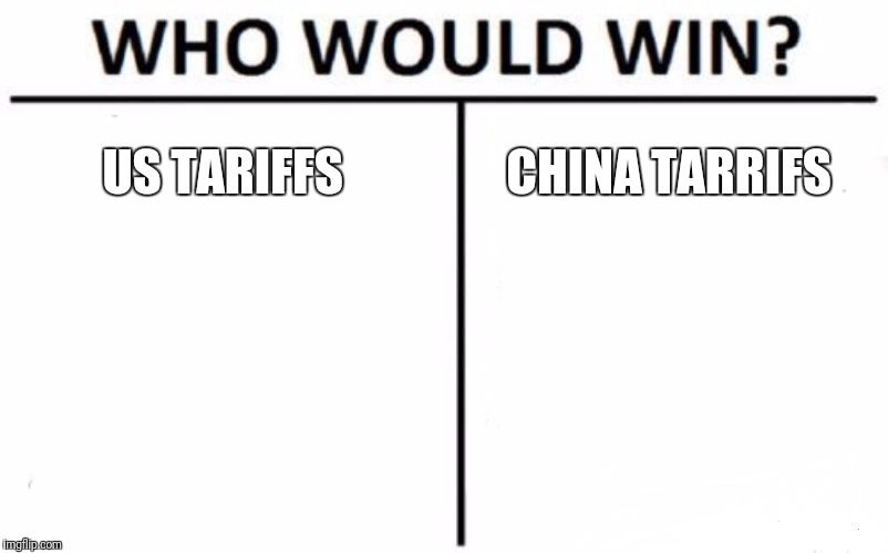 Who Would Win? Meme | US TARIFFS CHINA TARRIFS | image tagged in memes,who would win | made w/ Imgflip meme maker