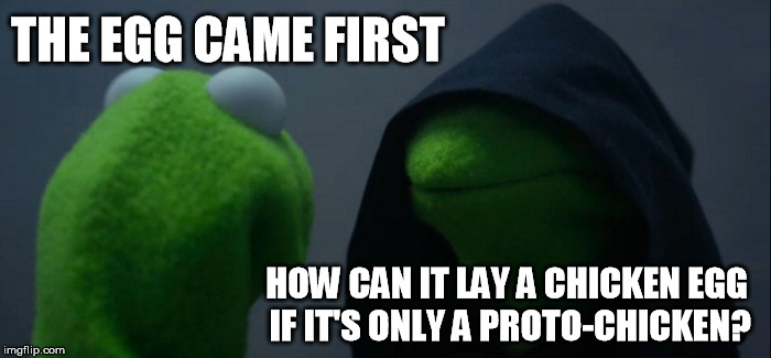 Evil Kermit Meme | THE EGG CAME FIRST HOW CAN IT LAY A CHICKEN EGG IF IT'S ONLY A PROTO-CHICKEN? | image tagged in memes,evil kermit | made w/ Imgflip meme maker
