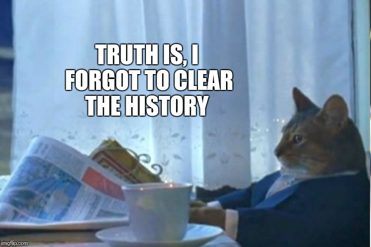 TRUTH IS, I FORGOT TO CLEAR THE HISTORY | made w/ Imgflip meme maker