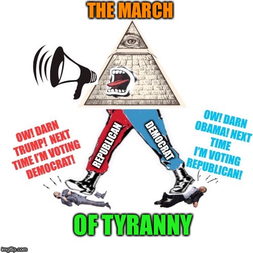 Marching Madness - Doing the same thing over and over and expecting different results | THE MARCH OF TYRANNY | image tagged in political,madness,illuminati,control,republican,democrat | made w/ Imgflip meme maker