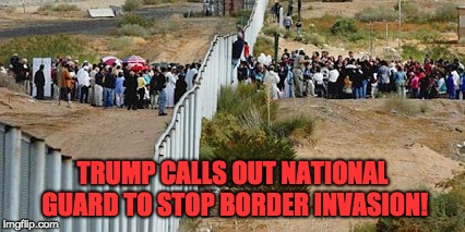 TRUMP CALLS OUT NATIONAL GUARD TO STOP BORDER INVASION! | image tagged in border invasion | made w/ Imgflip meme maker