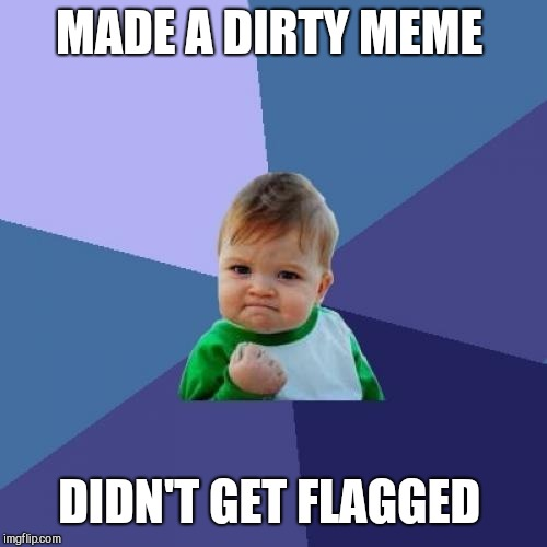 Success Kid Meme | MADE A DIRTY MEME DIDN'T GET FLAGGED | image tagged in memes,success kid | made w/ Imgflip meme maker