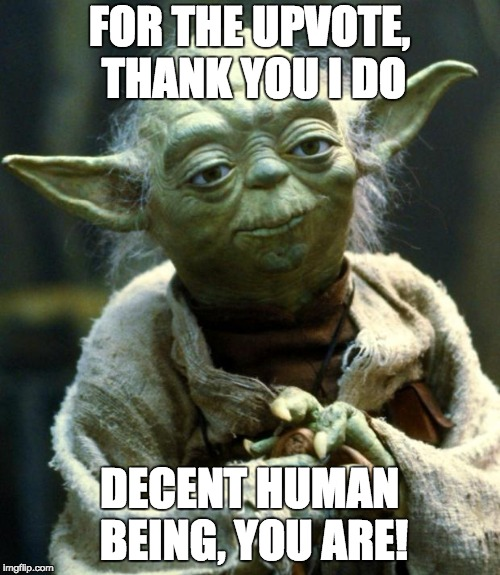 Star Wars Yoda Meme | FOR THE UPVOTE, THANK YOU I DO DECENT HUMAN BEING, YOU ARE! | image tagged in memes,star wars yoda | made w/ Imgflip meme maker