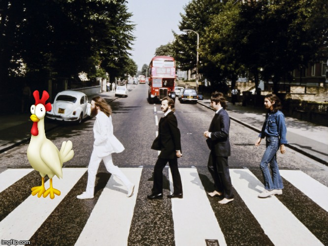 Why did the chicken cross Abby road?  | image tagged in memes,the beetles,chicken week,abby road,funny | made w/ Imgflip meme maker