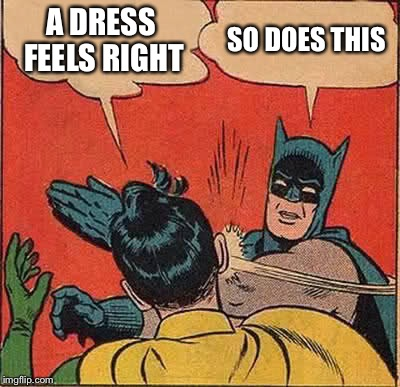 Batman Slapping Robin Meme | A DRESS FEELS RIGHT SO DOES THIS | image tagged in memes,batman slapping robin | made w/ Imgflip meme maker