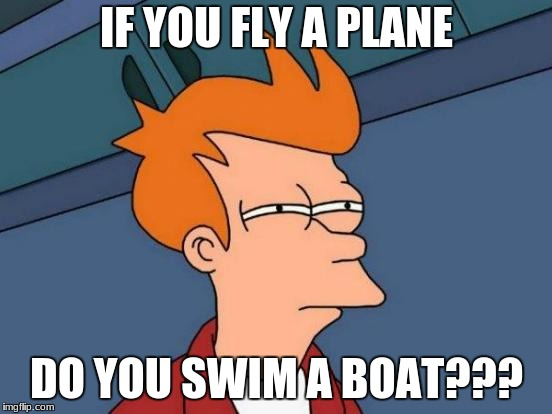 Futurama Fry Meme | IF YOU FLY A PLANE DO YOU SWIM A BOAT??? | image tagged in memes,futurama fry | made w/ Imgflip meme maker